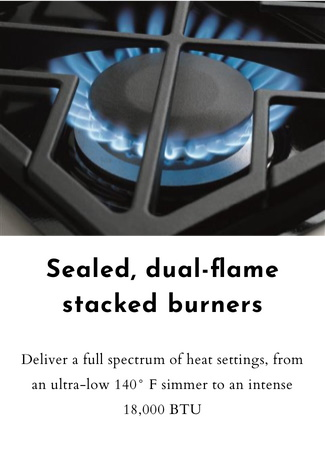 Sealed, dual-flame stacked burners